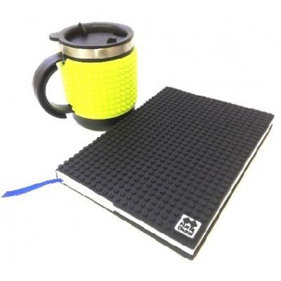 Kreatives SET - Pixel Notizbuch mit Umschlag in schwarz + Pixel Thermotasse neongrün
