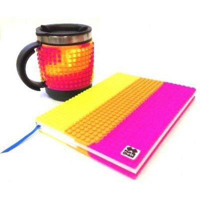 Kreatives SET - Pixel Notizbuch mit Umschlag bunt + Pixel Thermotasse bunt