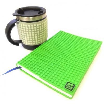 Kreatives SET - Pixel Notizbuch mit Umschlag in grün + Pixel Thermotasse fluoreszierendes grau