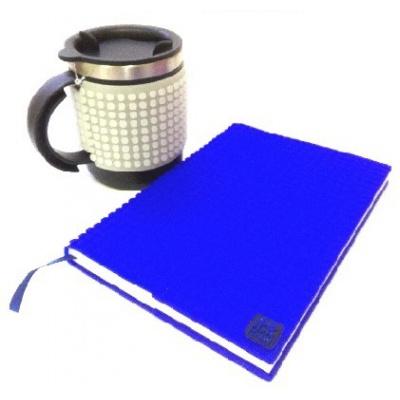 Kreatives SET - Pixel Notizbuch mit Umschlag in blau + Pixel Thermotasse fluoreszierendes grau
