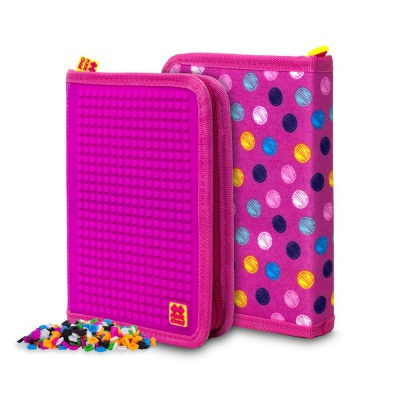 Kreative Pixel Schulfedermappe bunte Punkte/ violette PXA-04-G15